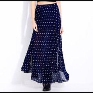 F21 Navy + White Polka Dot Maxi Skirt